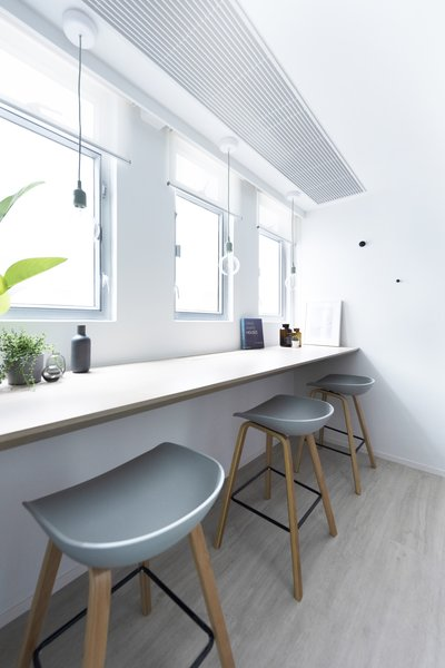 Window counters are relevant for serious work or casual break-out areas.
