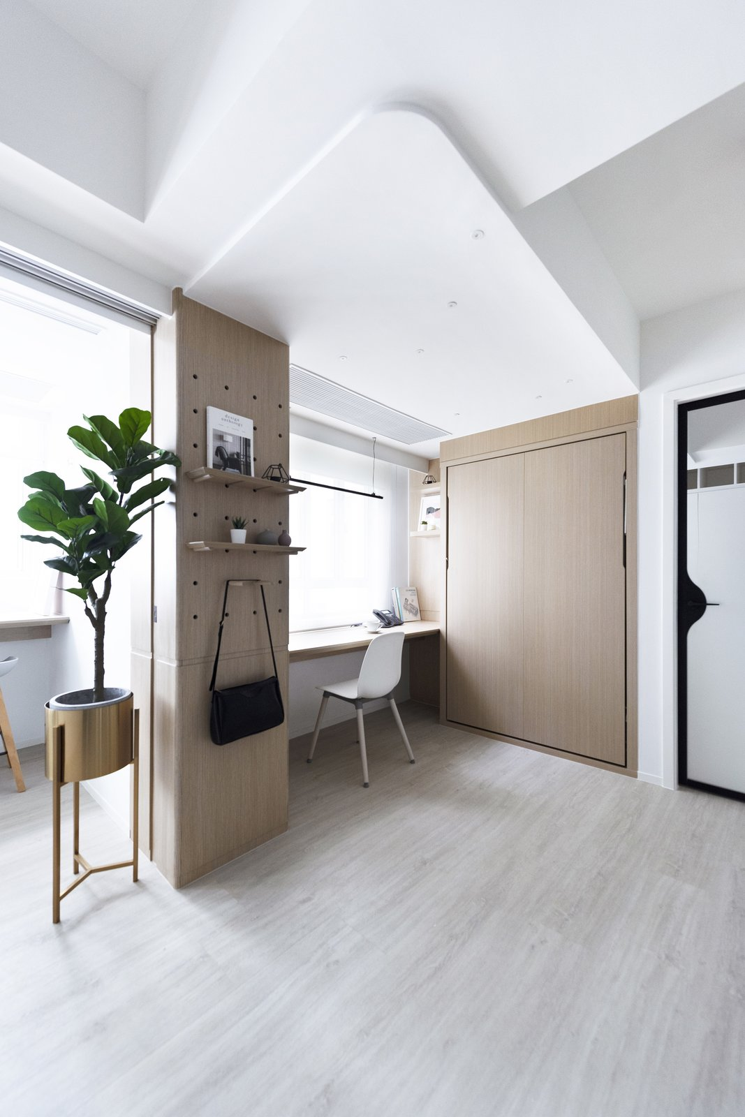 Bean Buro's Bizhouse, home office, peg board, murphy bed