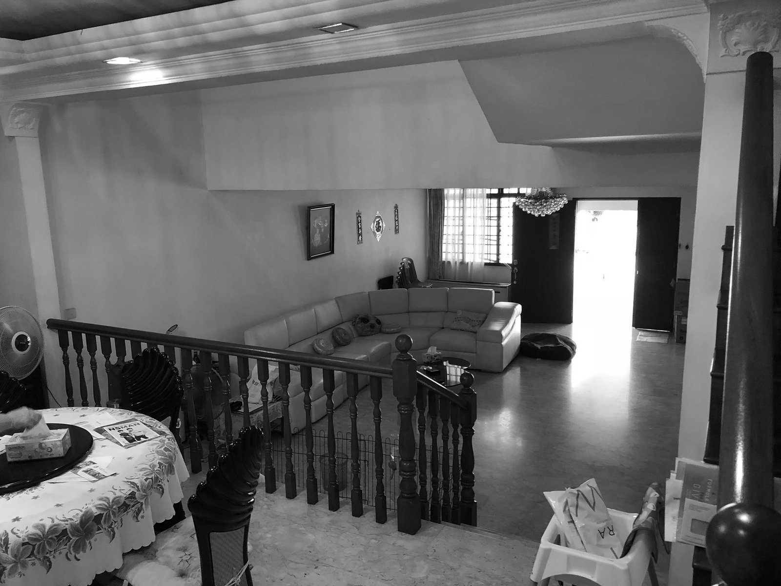 Before: The house's interiors were cloistered and dark.  Photo 8 of 22 in An Imaginative Courtyard House in Singapore Makes Room for Multiple Generations