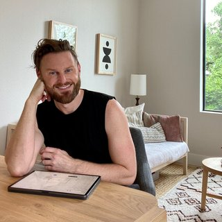 Bobby Berk's makeshift work-from-home setup while filming in Austin, Texas.