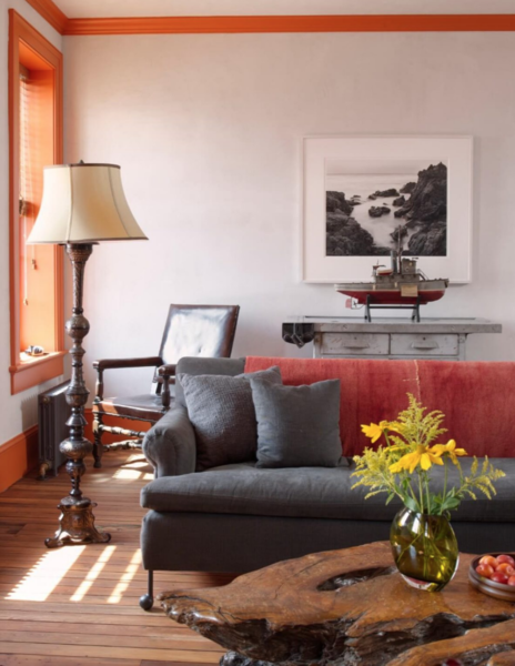 "Red Hook's proximity to the water is reflected in the living room's ""sea vibe."""