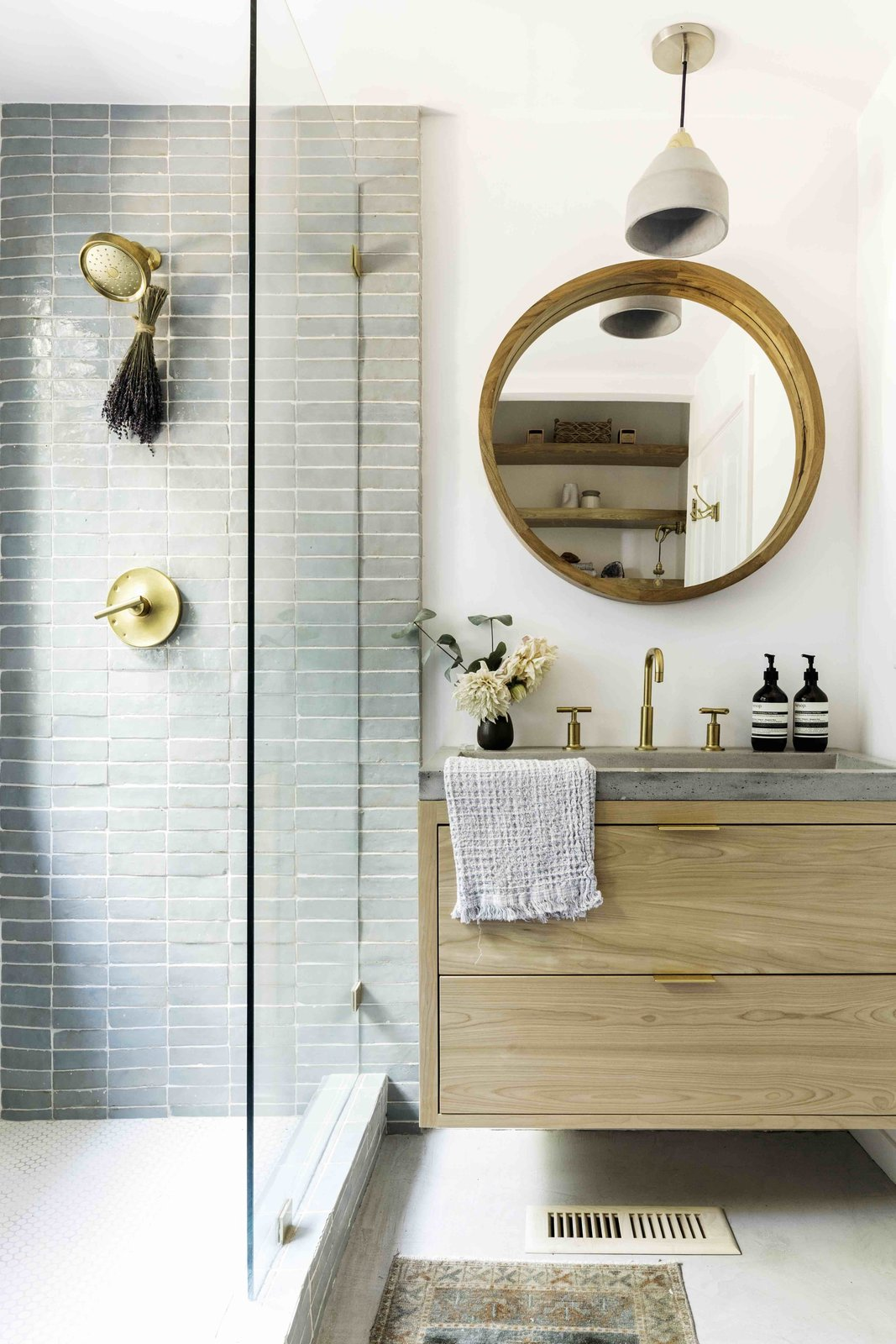 Bath Room, Concrete Counter, Concrete Floor, Vessel Sink, Subway Tile Wall, Pendant Lighting, and Open Shower guest bathroom with my favorite tile & custom vanity cabinets made by our friend  Bonny Doon Forest Temple