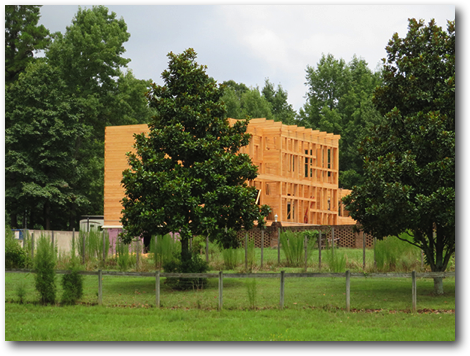 Outdoor, Trees, and Side Yard The Enertia® mass timber package underway  Meridian by Enertia Building Systems Inc.