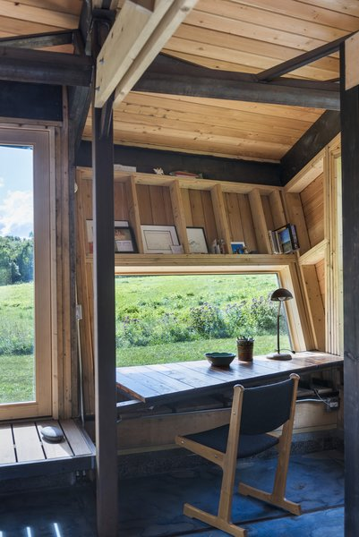 The desk window is positioned downwards to frame the field.