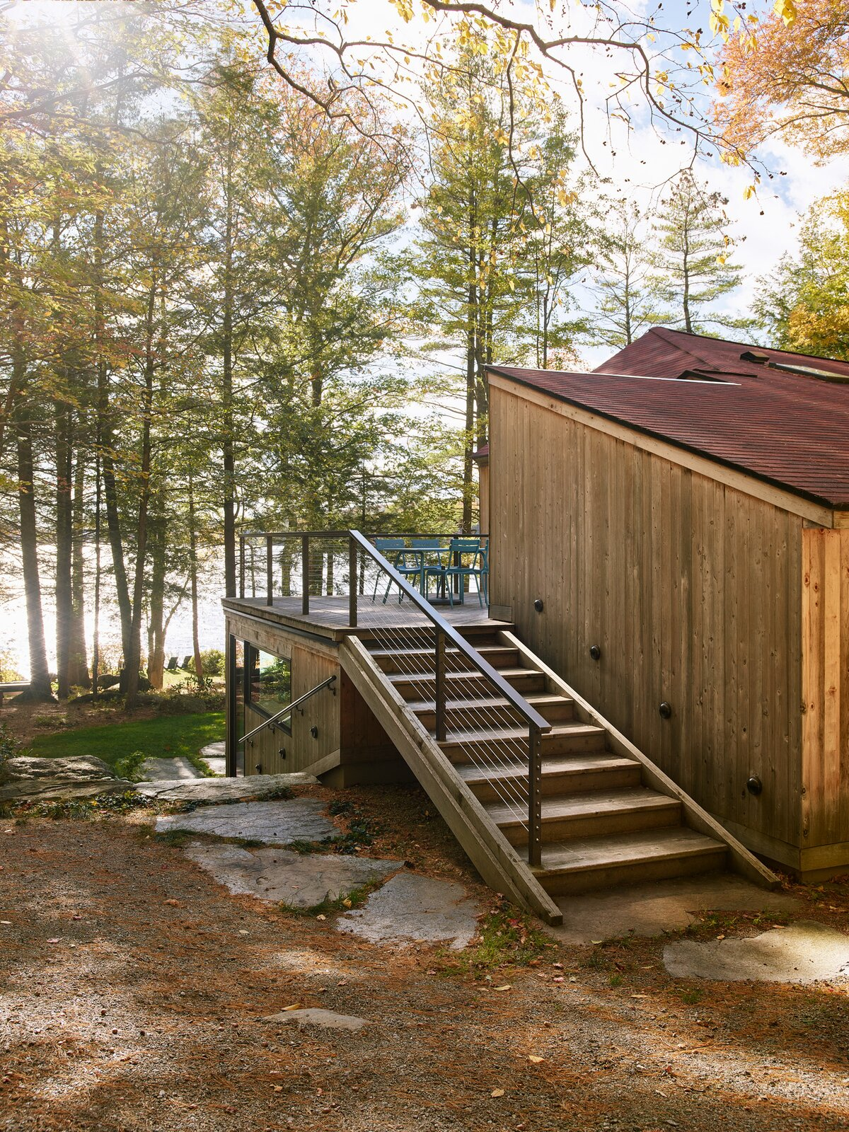 New Hampshire Lake Cabin by KCS Architects exterior deck stairs