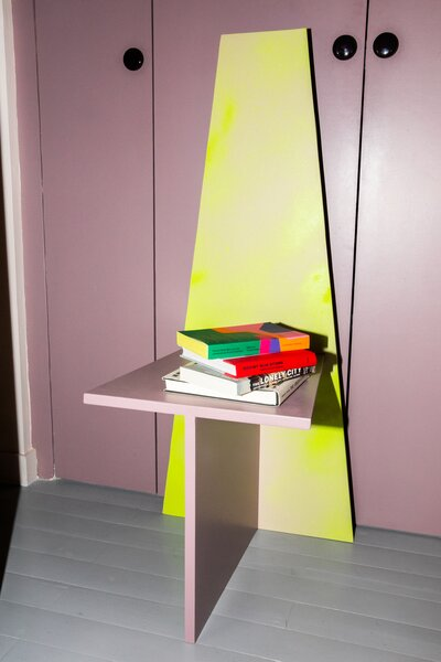 """Antonio named this chair/shelf/side table prototype Volada, which means """"cantilevered"""" in Spanish. Here, he experimented with different paint treatments. """"I sprayed paint from different distances and used different brushes,"""" he says. """"It illustrates the play of light and shadow on surfaces."""""""