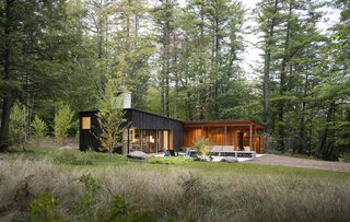 """""""Metaphorically, the cabin's exterior is like a cut log,"""" Lane says. """"The black-stained Western red cedar is the bark, and the Douglas fir siding under cover is the exposed wood once the log has been cut."""" Beyond the house and native sod gardens, a meadowscape blends into the mature pine forest at the lakefront. """"We wanted a woodland garden quality,"""" landscape architect Soren deNiord says."""