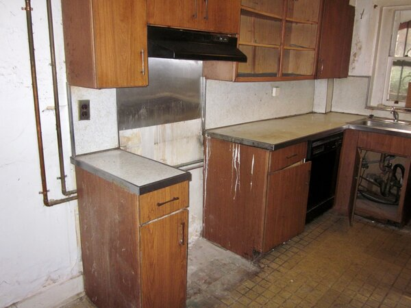 The original kitchen was in the back of the basement.