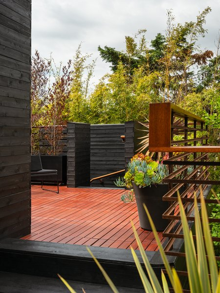 """Stairs lead up to a rooftop deck that adjoins a media space and two guest bedrooms. """"We wanted to have this idea that you can be in your own private space, integrated with nature, and you don't know that someone else is in a room next to you or around the corner,"""" Sylvester says."""