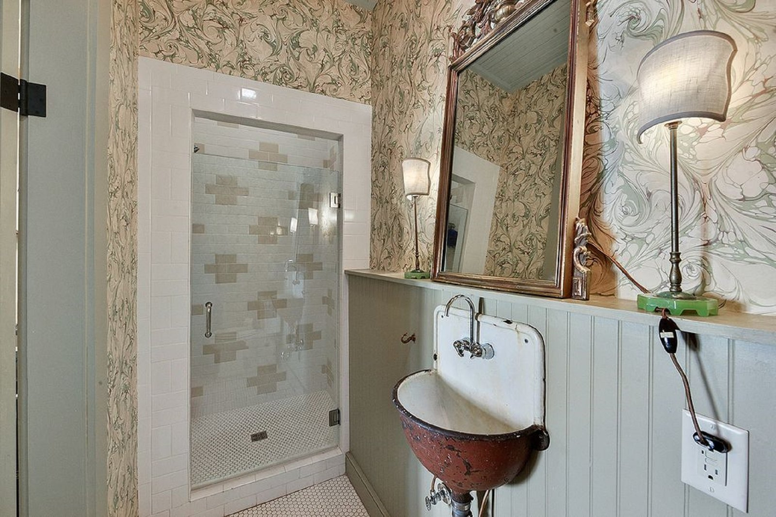 Bath Room and Enclosed Shower The tiled shower awaits you.  Antoine Bordeaux House