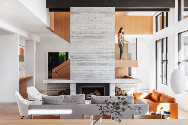 Living Room Fireplace & Feature Stair