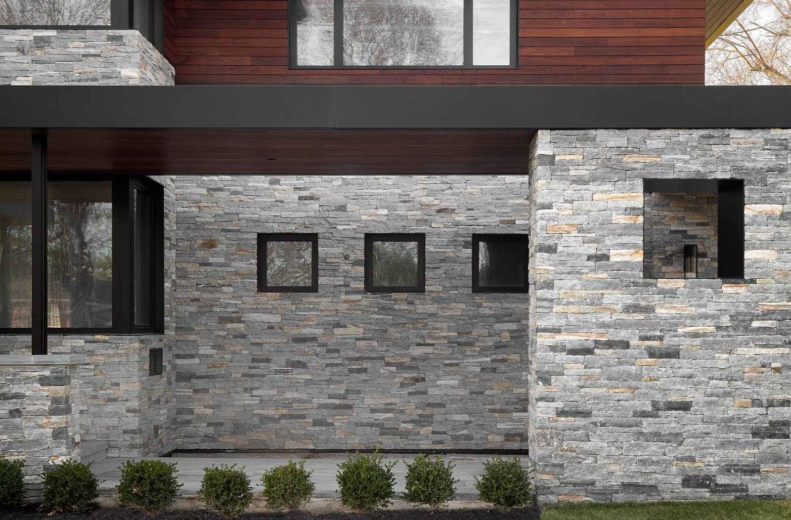 Windows, Metal, and Picture Window Type Side View of Front Entrance  The Manhasset House by Node Architecture, Engineering, Consulting P.C.