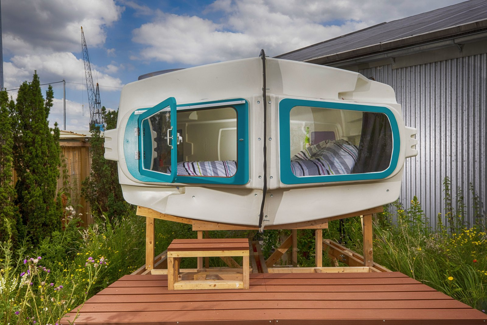 Exterior and Cabin Building Type Turned on its side, the igloo's original entrance becomes a window.  Photo 8 of 15 in At This Quirky Campsite in Rotterdam, You'll Sleep in Upcycled Grain Silos and Calf Igloos from Culture Campsite Rotterdam