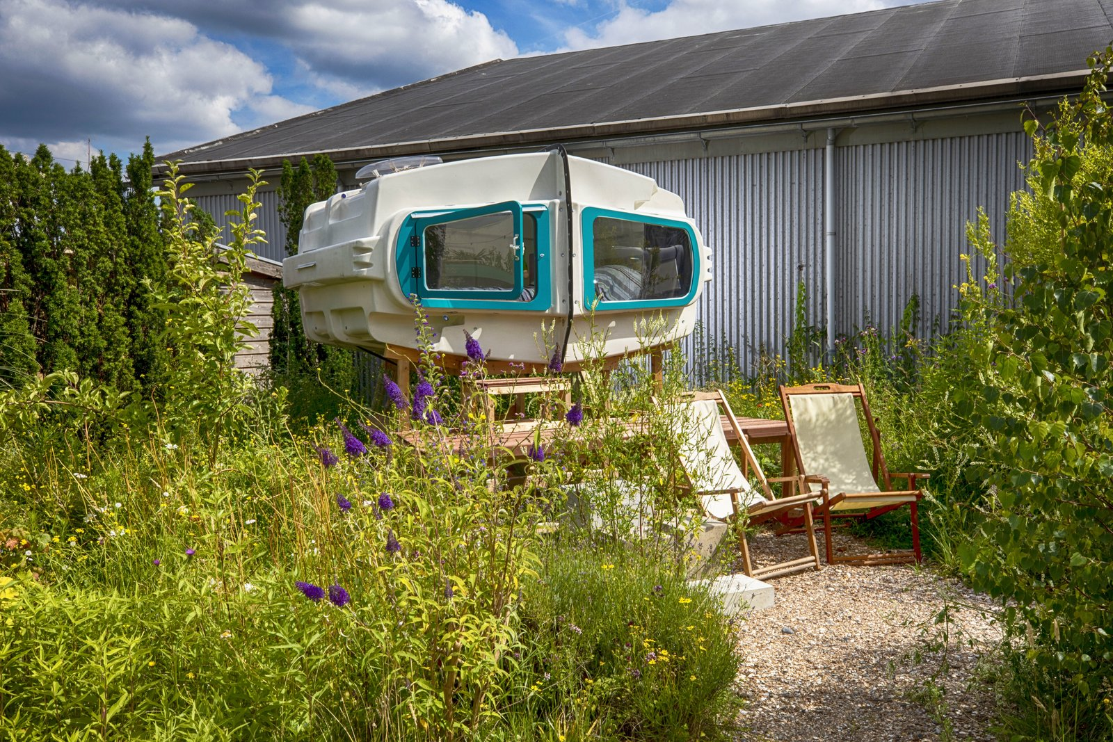 Exterior and Cabin Building Type Scuba, a sleeping pod made out of two joined calf igloos, is one of Culture Campsite's latest additions.  Photo 7 of 15 in At This Quirky Campsite in Rotterdam, You'll Sleep in Upcycled Grain Silos and Calf Igloos from Culture Campsite Rotterdam