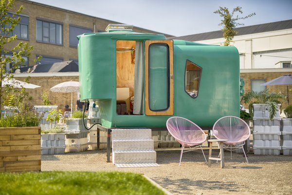 Little Pea, one of the most popular sleeping pods, was made out of discarded animal food silos collected from the Dutch countryside.