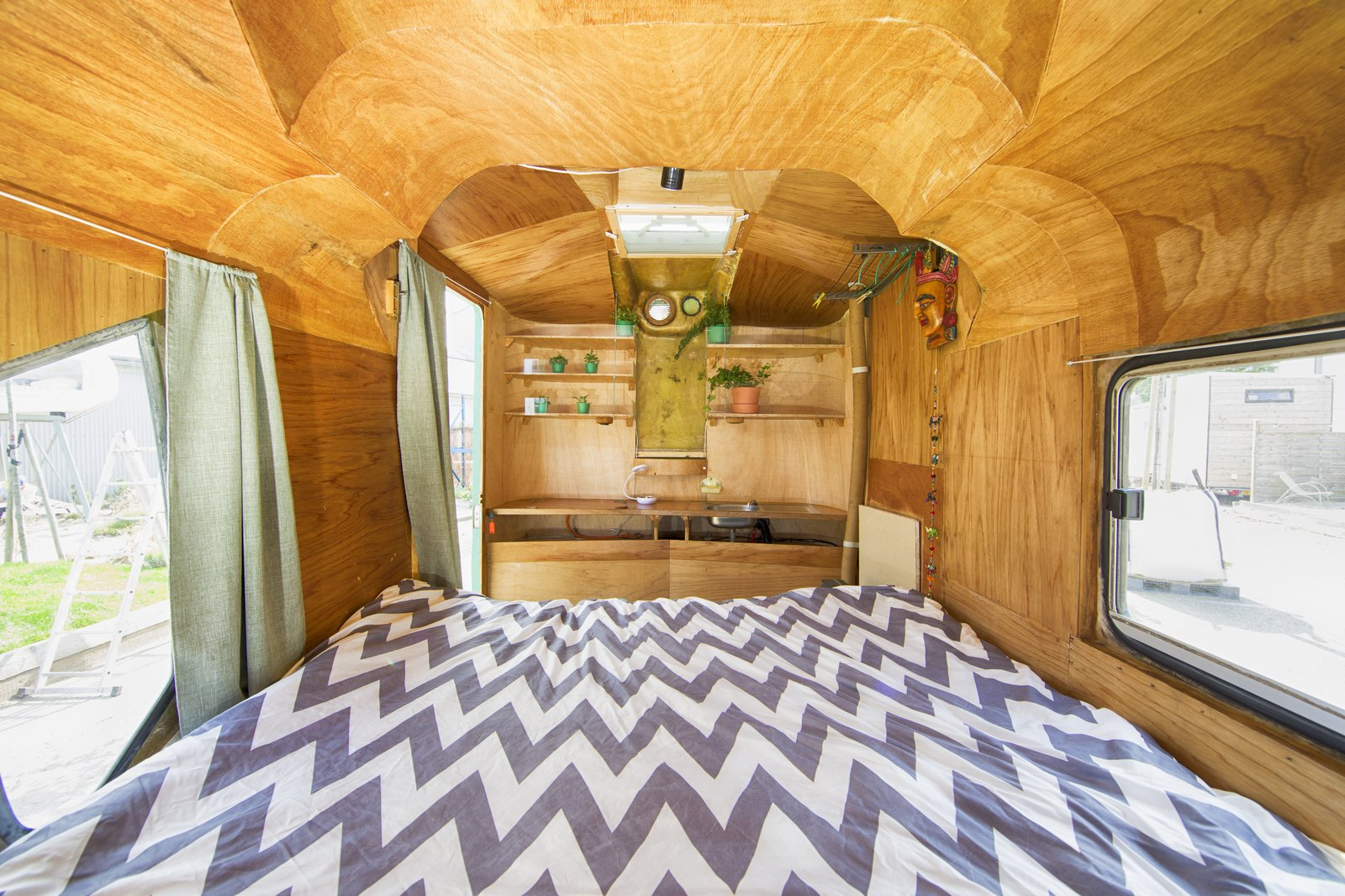 Bedroom and Bed Architect Boris Duijneveld joined multiple pieces of silo together to create a mobile shelter. He lived in it for three years before placing it on the grounds.  Photo 4 of 15 in At This Quirky Campsite in Rotterdam, You'll Sleep in Upcycled Grain Silos and Calf Igloos from Culture Campsite Rotterdam