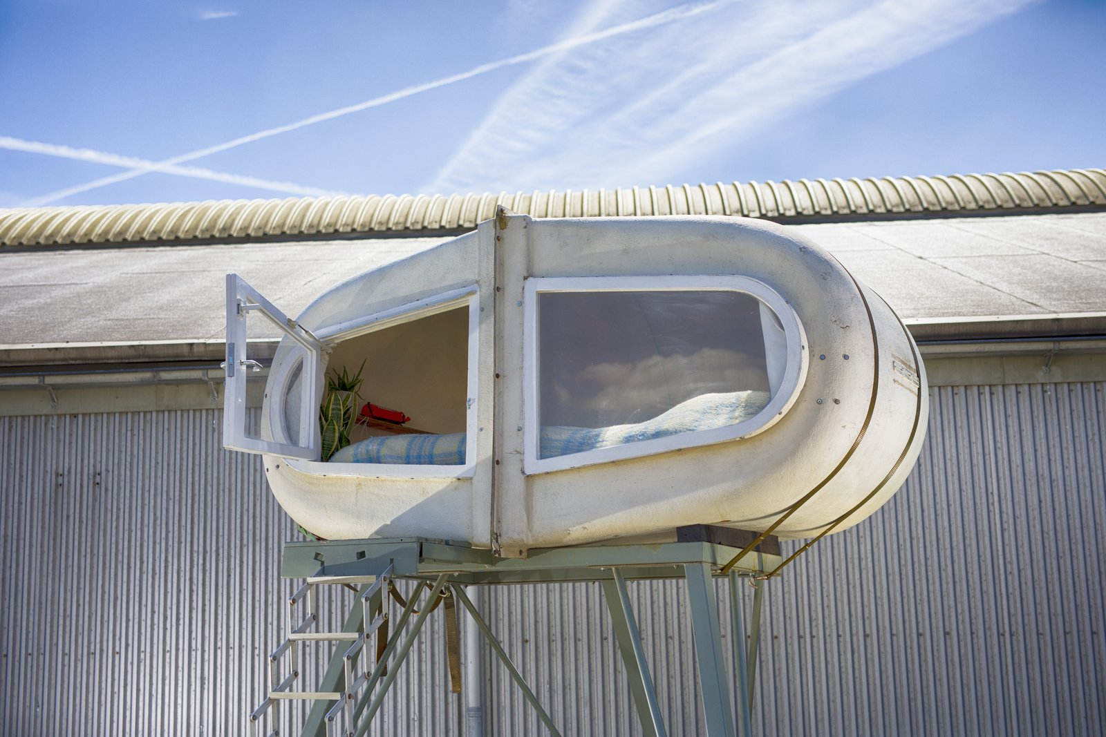 Exterior and Cabin Building Type This sleeping pod consists of two calf igloos raised on a steel frame.  Photo 15 of 15 in At This Quirky Campsite in Rotterdam, You'll Sleep in Upcycled Grain Silos and Calf Igloos from Culture Campsite Rotterdam