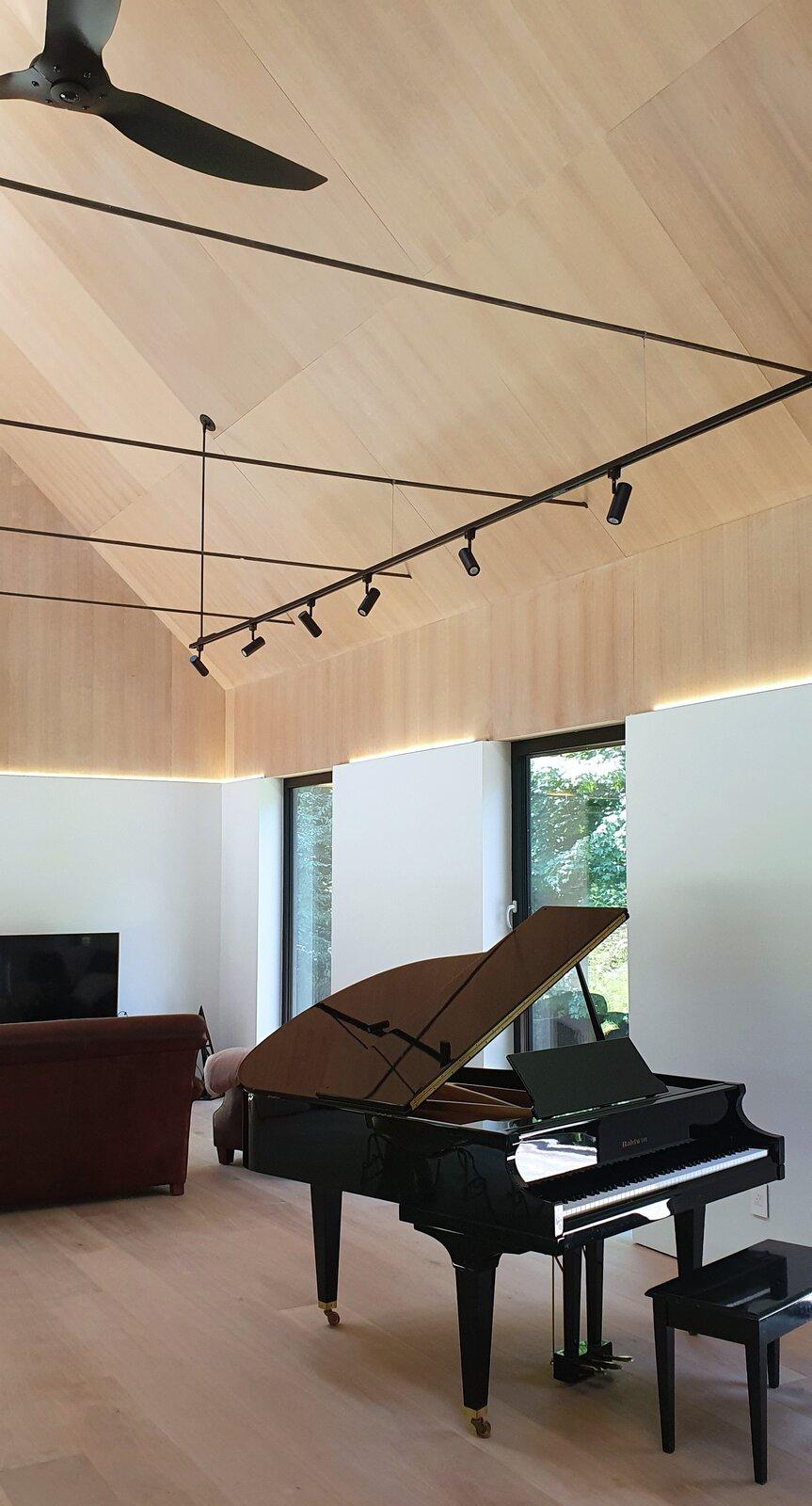 Living Room, Track Lighting, Pendant Lighting, Light Hardwood Floor, Sofa, Bench, Accent Lighting, and Plywood Floor Great Room Piano  Cork Haven by Multitude Studio