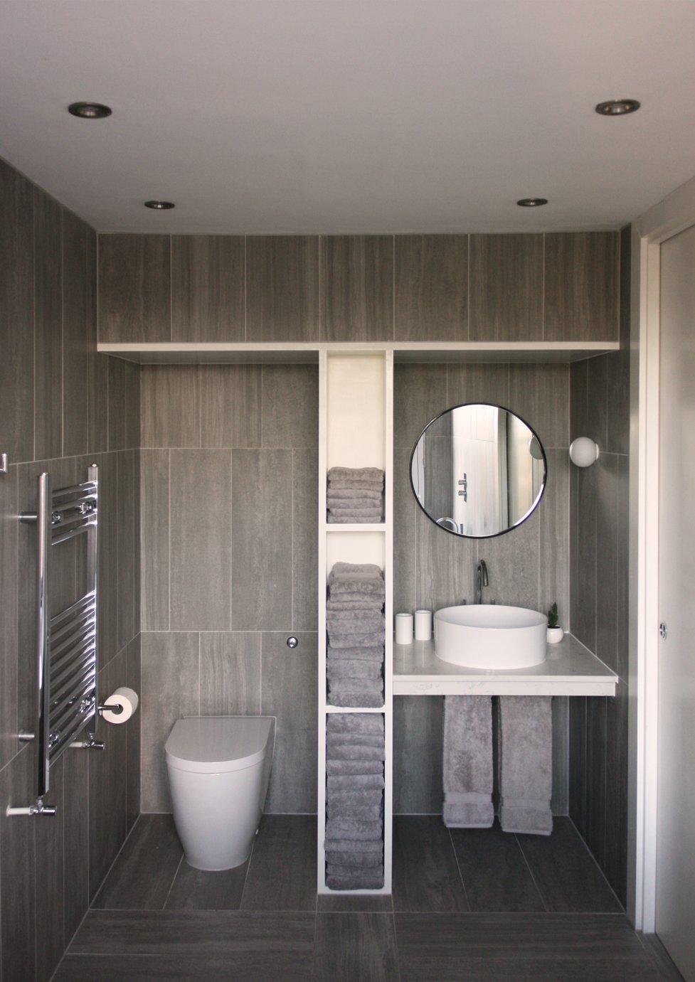 Bath Room, Engineered Quartz Counter, Vessel Sink, Ceramic Tile Floor, and Ceramic Tile Wall En-suite bathroom  The Yellow Door by Tactus Design Workshop