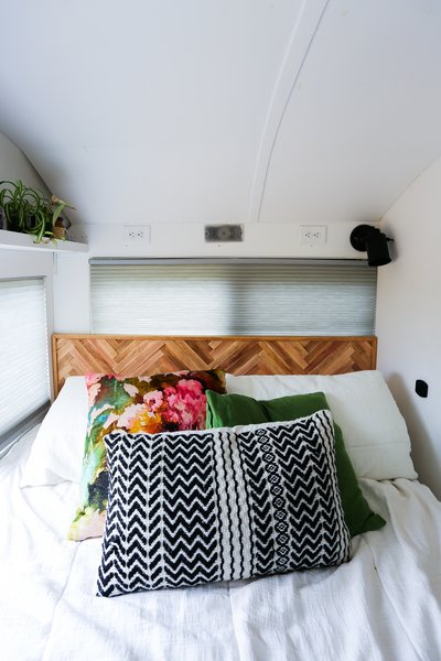 """""""This headboard made from shims is our newest DIY project,"""" Tina says."""