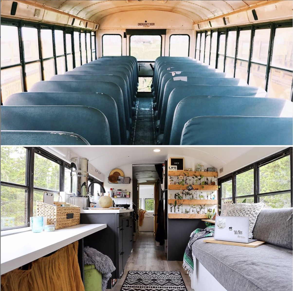 Big Booty Judy school bus before and after