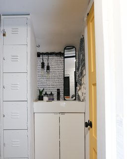 """The split bathroom has been so helpful, and the lockers provide so much storage,"" Tina says."
