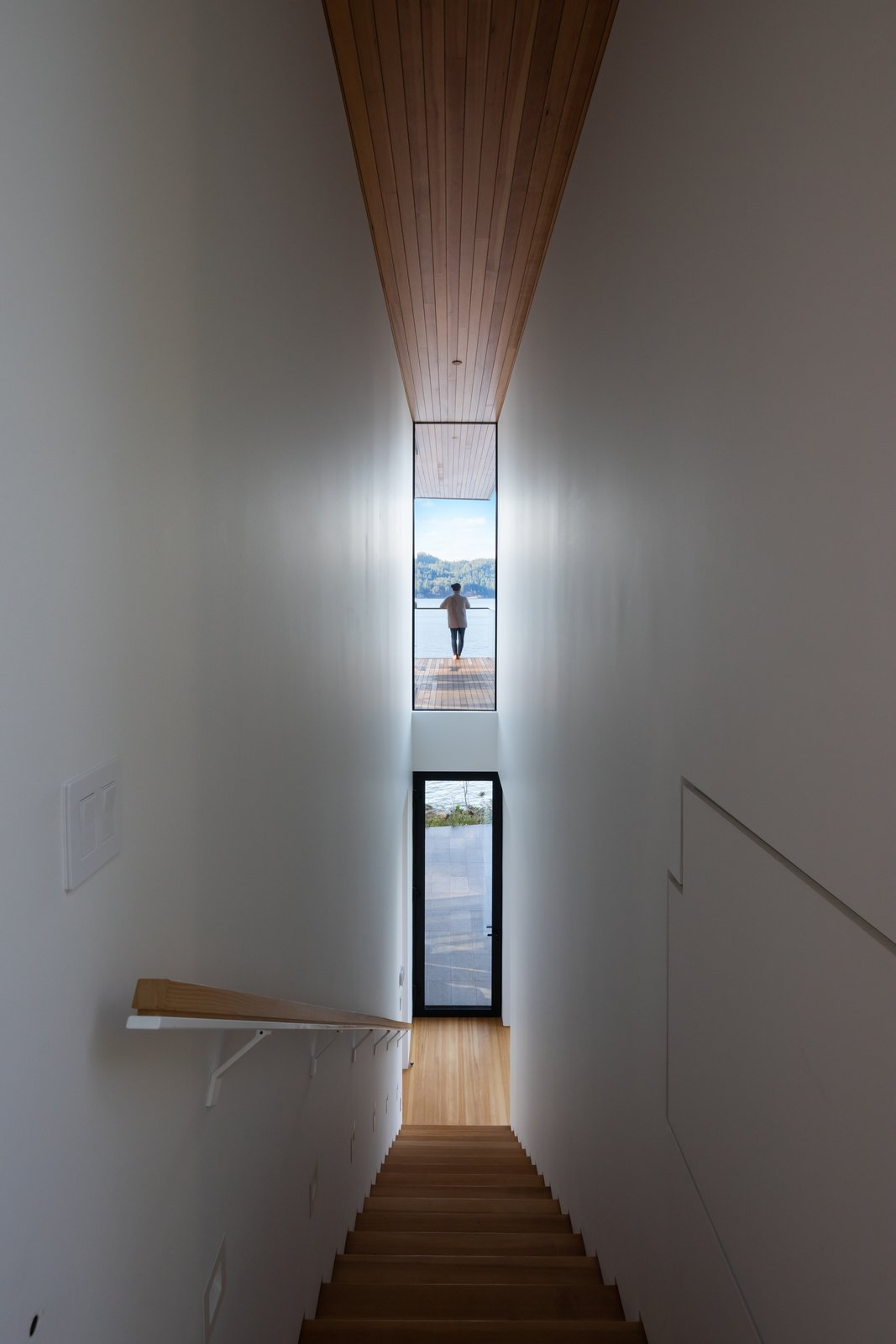"""""""The stairwell is one of my favorite spaces in the project,  Photo 7 of 11 in A Glass and Cedar Cabin Looks Out Over One of British Columbia's Best Views"""
