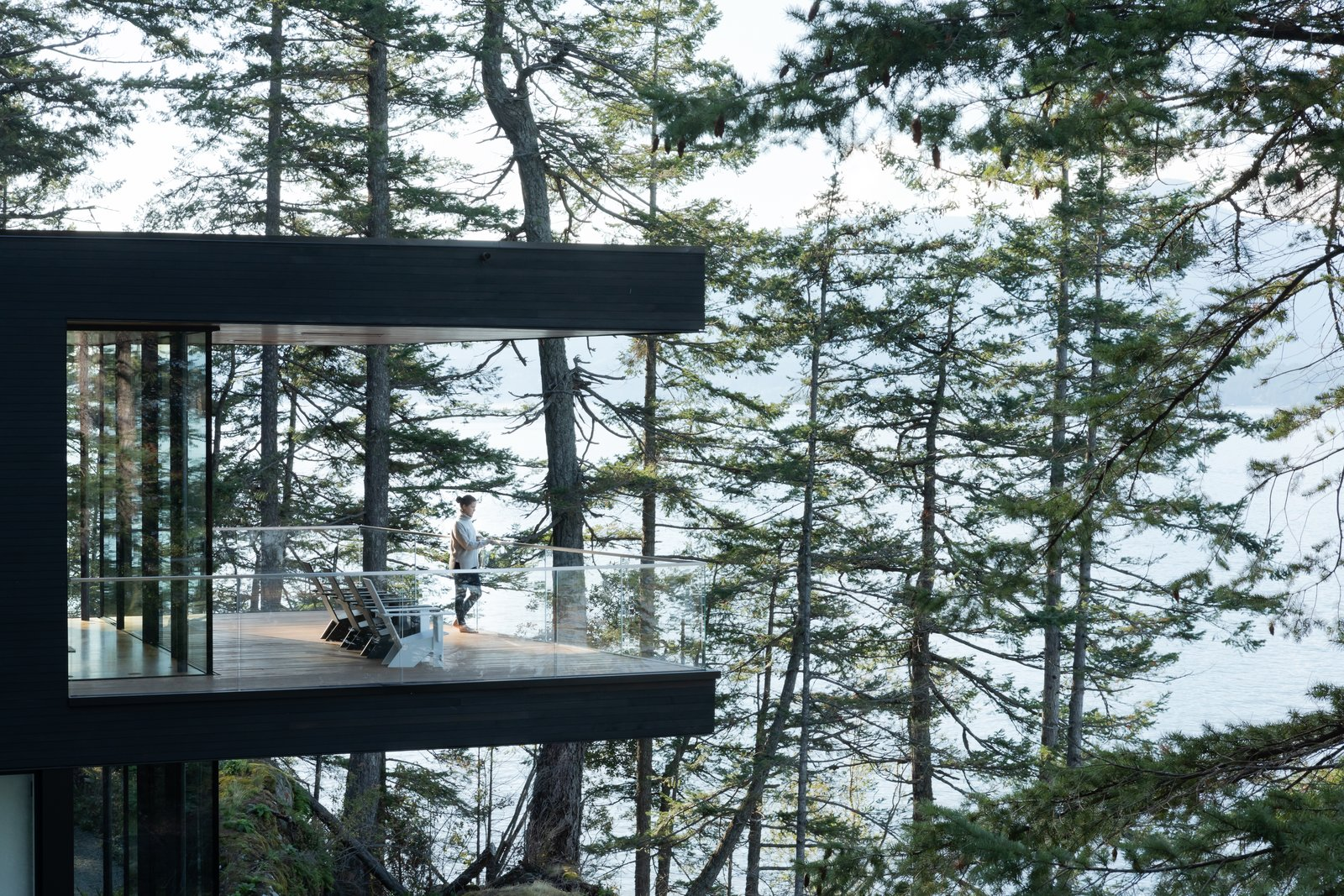 """""""They had this really beautiful ambition of creating a place where they could really experience the natural environment with their growing family,  Photo 9 of 11 in A Glass and Cedar Cabin Looks Out Over One of British Columbia's Best Views"""