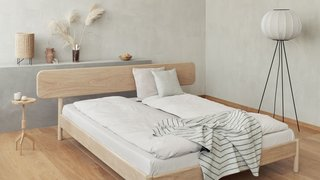 An essentialist sleeping environment cultivated by Danish bed maker Re Beds.