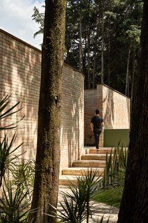 The home's imposing entrance conceals a tranquil inner courtyard.