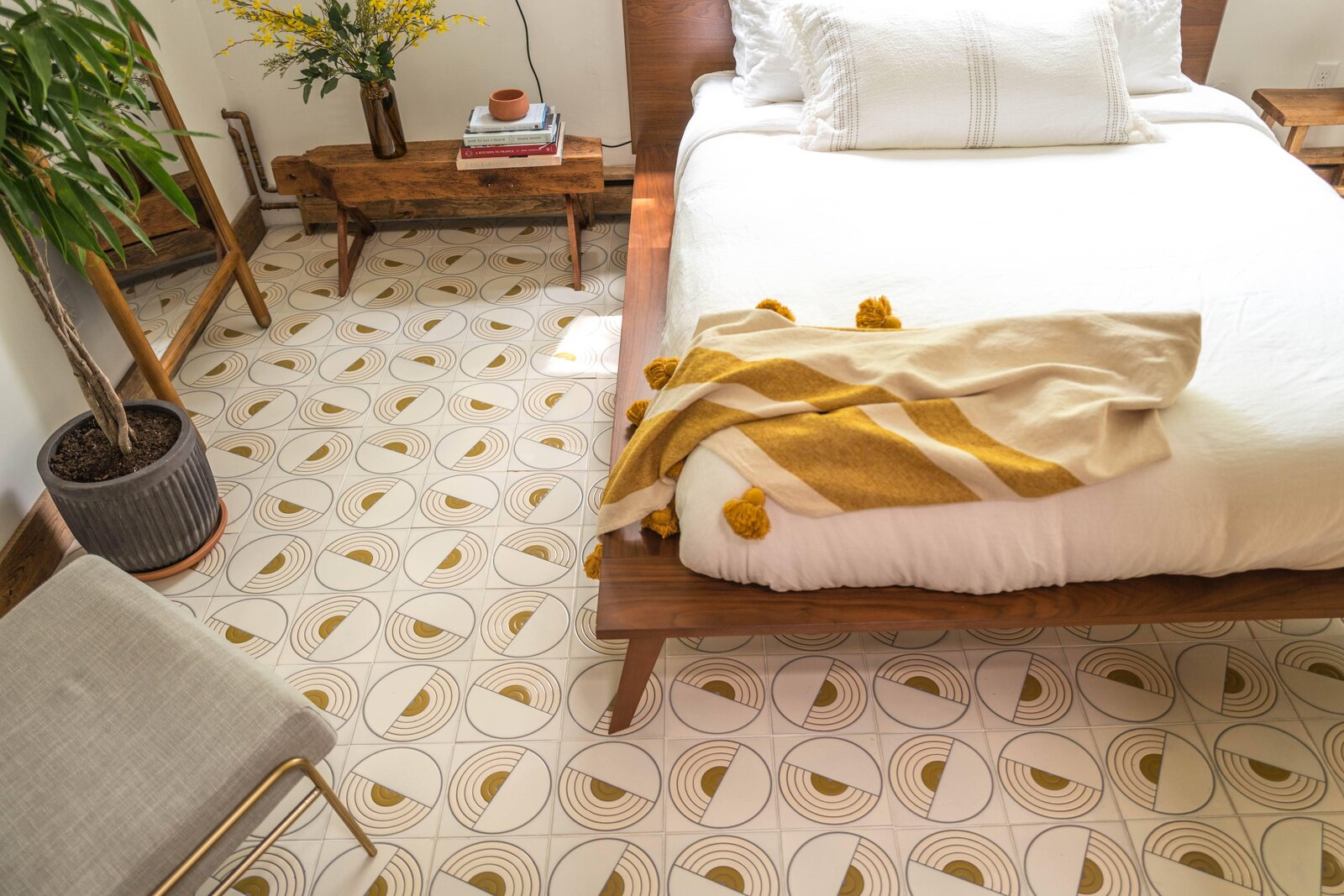 The Hunter Barnhouse by Danielle and Ely Franko bedroom with patterned tile floor