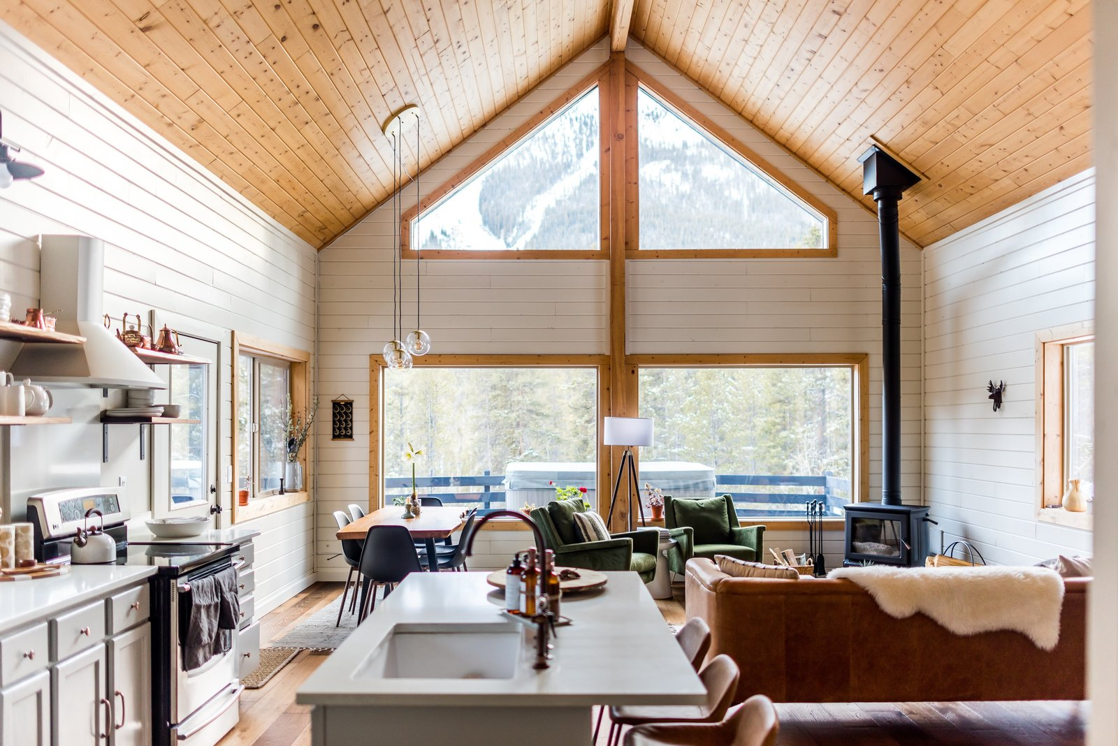 The expansive windows offer unparalleled views of La Plata peak while also providing lots of natural light to the living room and kitchen.