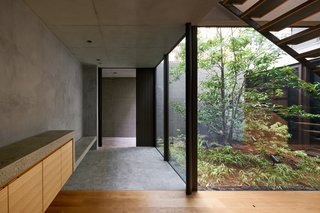 """""""We wanted to connect their lifestyle to the design and the materials,"""" says Ashizawa. The Nanaminoki tree and other plantings outside the wide windows bring a green into an otherwise minimalist palette."""