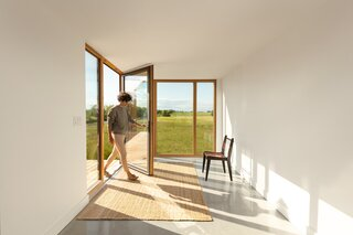 The vestibule is the entry point, and it also separates the sleeping area of the house from the communal areas.