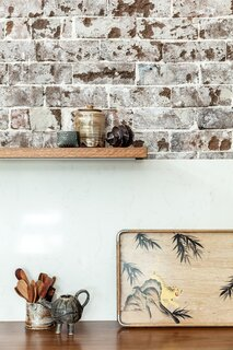 Szczerbicki crafted the countertops from hardwood timber, a naturally long-lasting material.