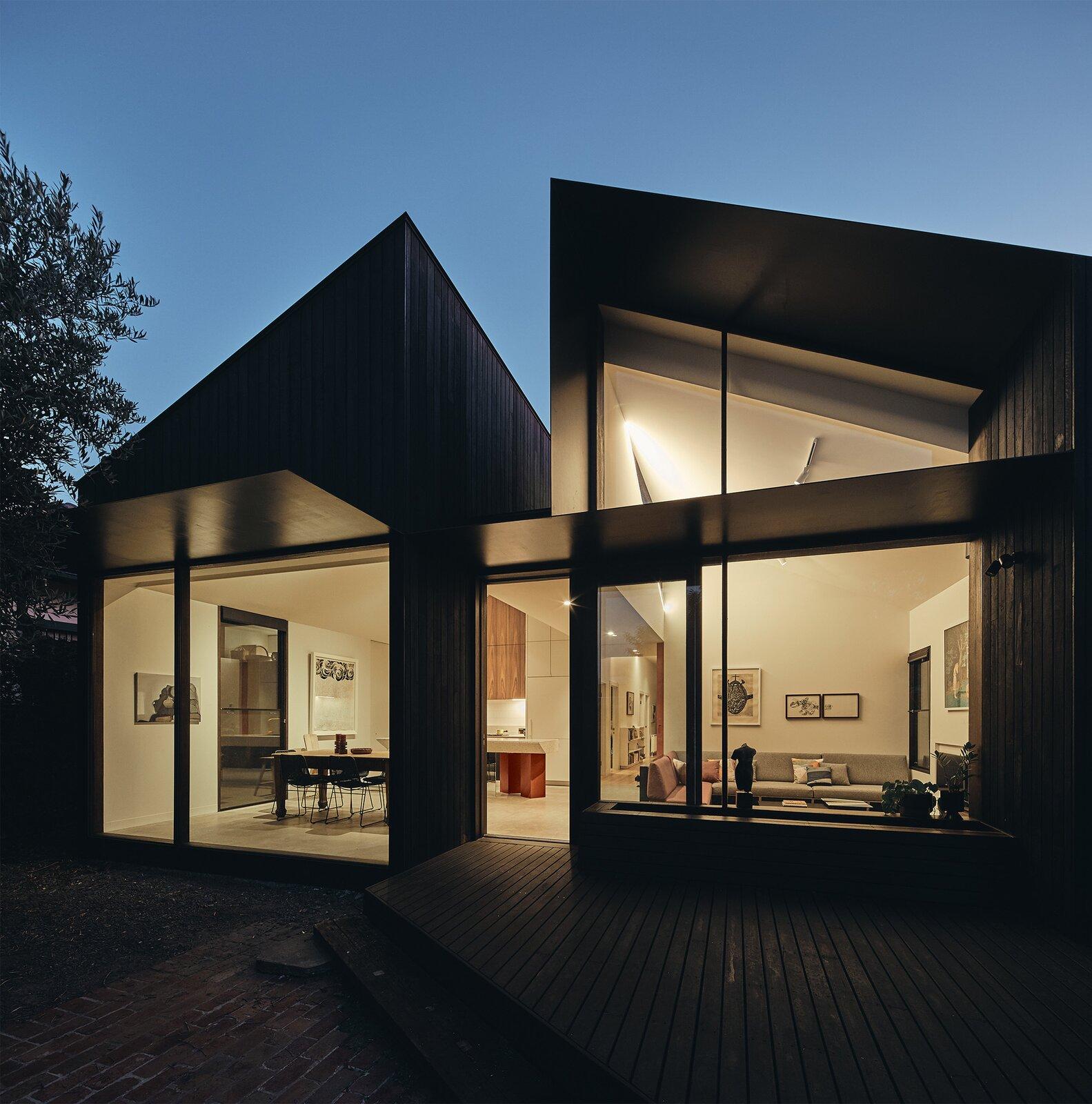 FMD Architects Split House exterior night
