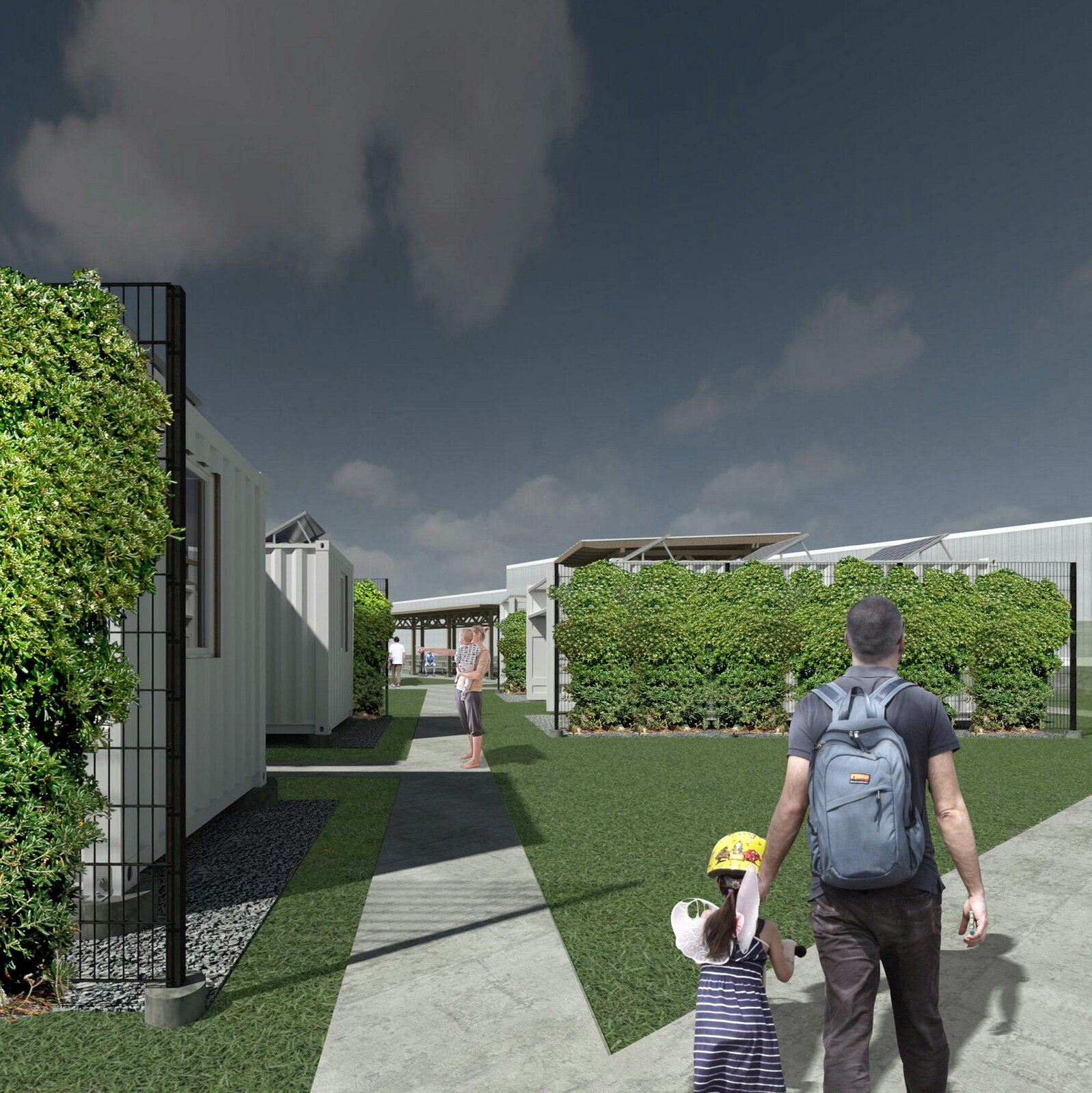 A rendering of Studio 804's next planned project, The Monarch Village, intended as  safe temporary housing for single mothers with children, and as a space for isolating during the pandemic for shelter residents.  Photo 4 of 7 in How Can Higher Education Build a Better Architect?