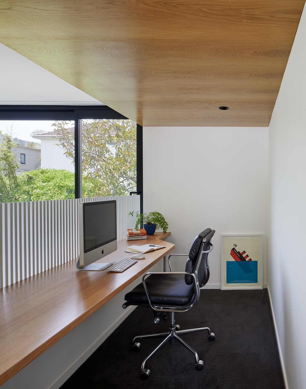 Office, Study Room Type, Chair, Desk, and Carpet Floor Study space  Photo 11 of 21 in Thanks to a Double-Height Dining Room, a Melbourne Home Basks in Sunshine and Courtyard Views from South Yarra Void House