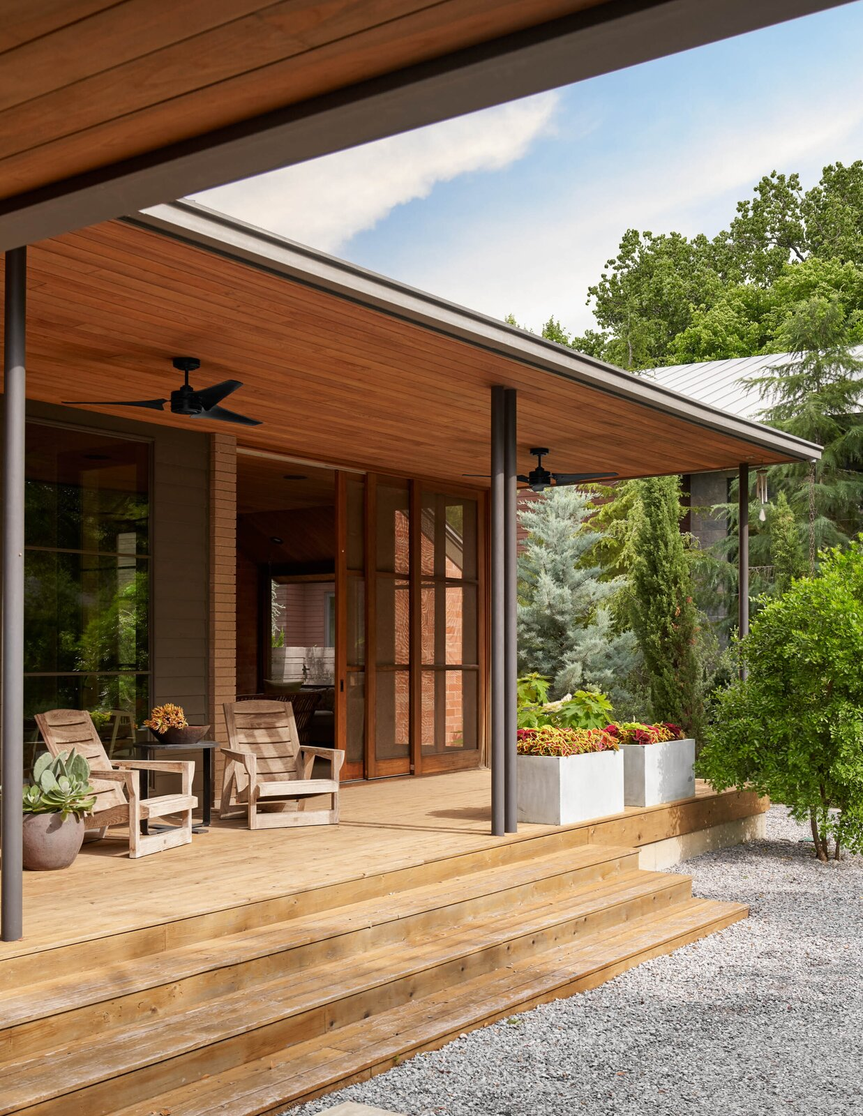 Front porch of River House 2 by Bentley Tibbs Architect