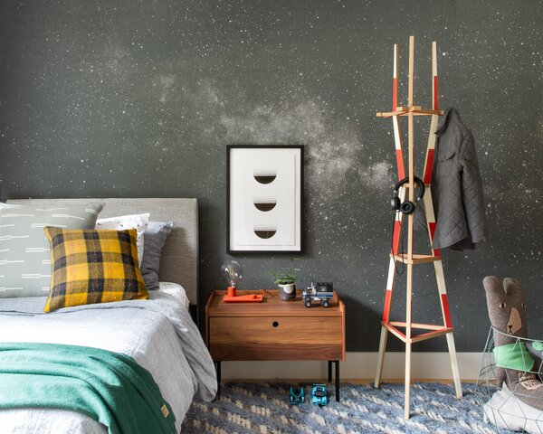 A milky way mural by Warp Collection reflects Everett's love of Star Wars. The Sutro Tower coat rack is an homage to the iconic landmark, which is visible just outside the window!