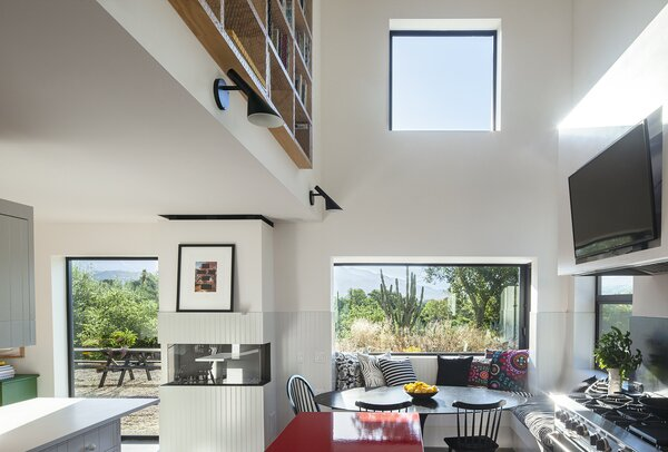 A view of the kitchen's lofted ceilings.