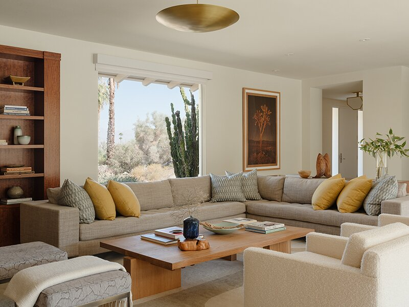 Living, Sectional, Sofa, Chair, Accent, Storage, Coffee Tables, Ceiling, Bookcase, Ottomans, Rug, and Shelves Living Room  Living Sectional Storage Photos from The Smoke Tree Retreat