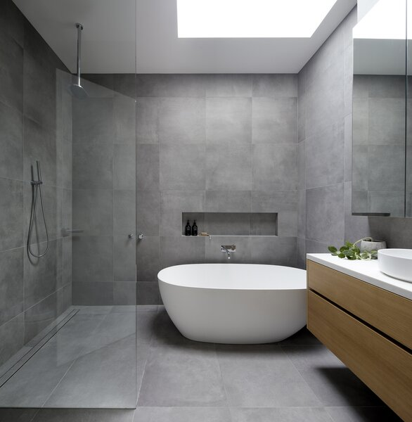 Family Bathroom with Freestanding Tub & Skylight