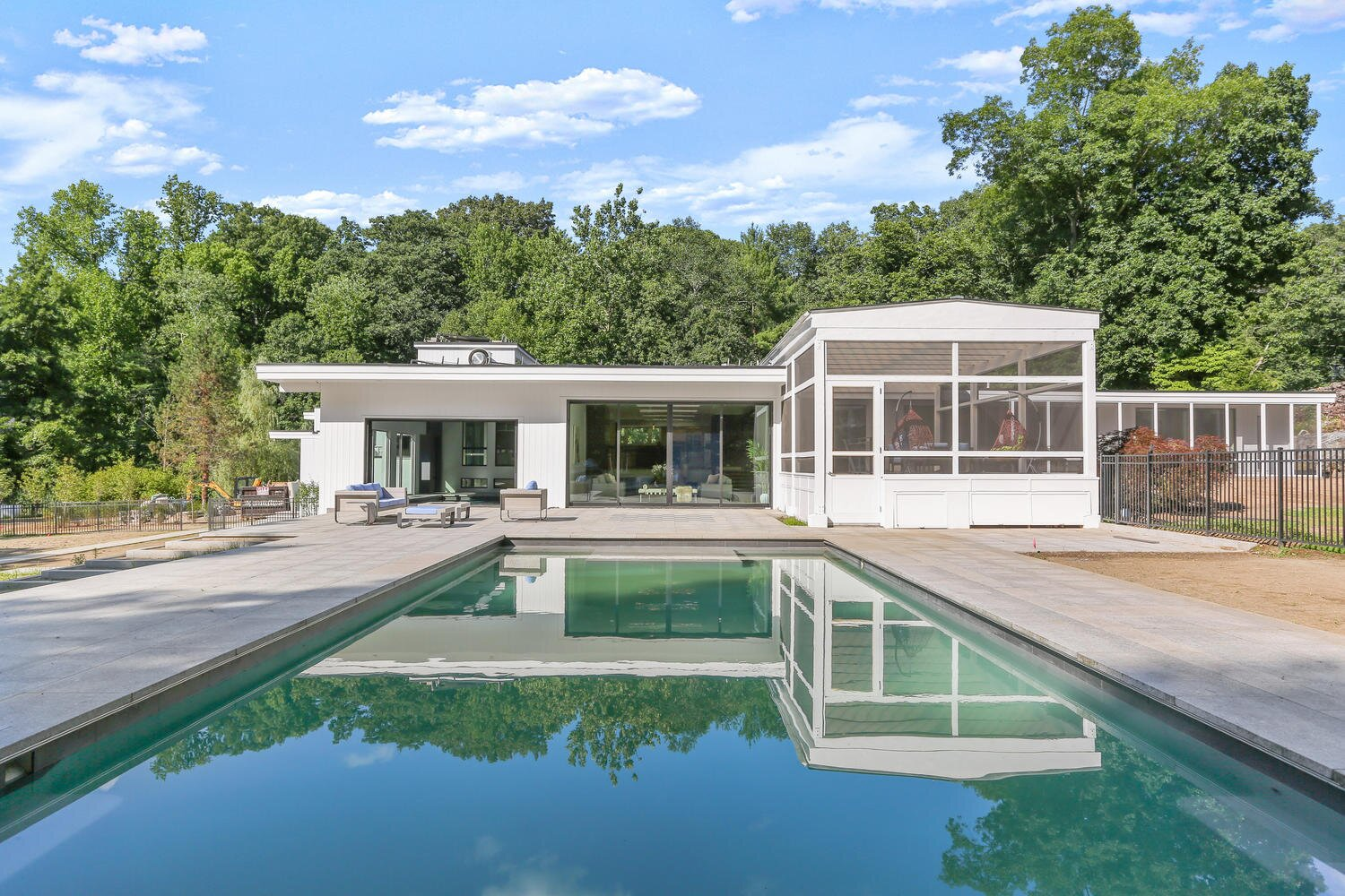 Modern home with Outdoor, Large Pools, Tubs, Shower, and Trees. Outdoor Pool and Backyard  Photo 6 of A Gut Renovated MidCentury Modern Green Energy Home for Luxury Winter Living for $4.65m