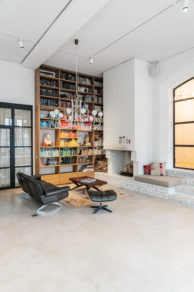 Chimney corner and floor-to-ceiling bookcase