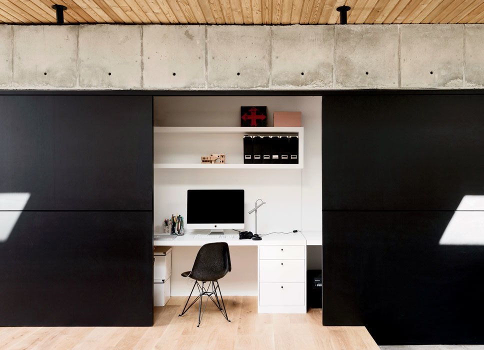 Office, Light Hardwood Floor, Storage, Chair, and Desk  Photos from Eames Molded Chairs