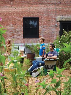 David and Elizabeth built the lawn chairs in the garden from old signs.