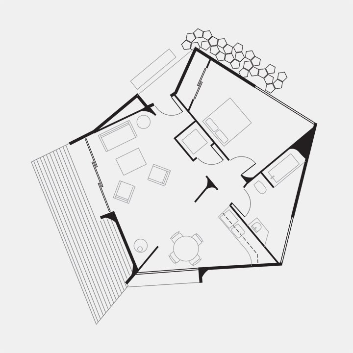 Oyster House Floor Plan  A Entry  B Living Room  C Kitchen and Dining Room  D Bathroom  E Bedroom  F Deck  G Permeable Paving Patio  Photo 3 of 3 in Circular Affordable Housing Prototype