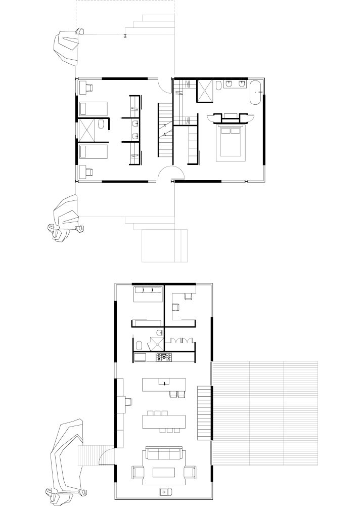 Sunshine Canyon House Floor Plan  A Living AreaB Dining Area  C Kitchen  D Roof Deck  E Pantry  F Bathroom  G Bedroom  H Office  I Bridge  J Porch  K Master Bedroom  L Closet  Photo 6 of 7 in Sustainable Retreat on a Fire-Devastated Site in Boulder