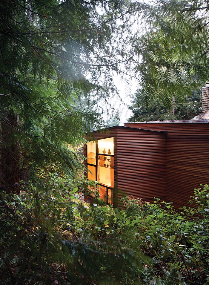 Exterior, House Building Type, Wood Siding Material, and Shingles Roof Material Claire and Ken Stevens approached architect Ko Wibowo to create a modern addition to their 1970s home in Tacoma, Washington. The couple's needs had changed since Ken was diagnosed with Alzheimer's a few years ago.  Photo 2 of 9 in Designing a Home to Accommodate Alzheimer's
